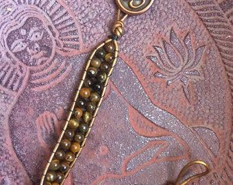 Single Wrap Tiger Eye Bracelet with Om Button Clasp