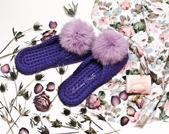 Bridesmailds slippers Home slippers Pom pom slippers Purple slippers Shoes for home Handmade slippers