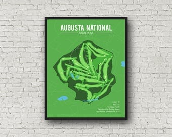 Augusta National Golf Club Course Map, Golf print, Augusta Georgia, Printable golf course map, Golf gifts for men