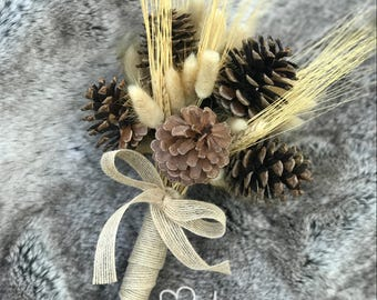 Rustic Pine Cone Bouquet, Fall Wedding Bouquet, Winter Wedding Bouquet, Wheat & Pine Cone Bouquet, Alternative Bouquet, Hare's Bunny Tail