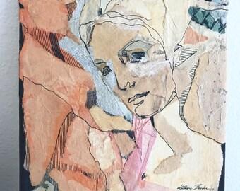 Vintage Paper Mache Portrait | Female Portrait Painting  Mixed Media