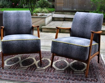 Pair of original vintage Mid century German lounge chairs newly reupholstered