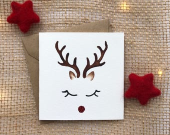 hand painted card, xmas cards, christmas card, reindeer card, handmade christmas, cute christmas card, rudolph christmas, rudolph card