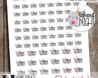 Take Out Night, Functional Printable Stickers, Take Out Stickers, All Planner Styles, Planner Printable, Planner Stickers