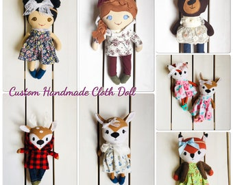 Handmade cloth doll, rag doll, ragdoll, custom, personalized, made to order