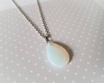 Opal necklace, Opal pendant, Gemstone necklace, Gemstone drop pendant, Pendant necklace, Gemstone jewellery, Opal, Faceted drop, Oval drop