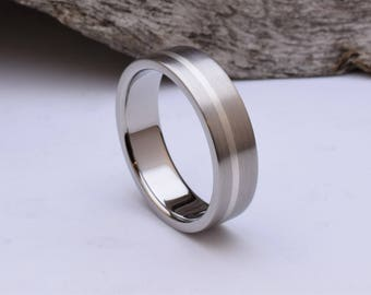 Handmade titanium wedding ring with sterling silver inlay, brushed titanium wedding band, mens wedding band, titanium ring mens