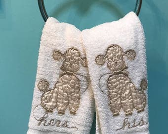 50's Novelty Satin Gold Lame and Terrycloth Poodle Motif His&Hers Hand Towels
