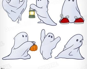 Hand-Drawn Halloween Ghosts - Digital Clipart/Graphic