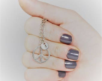 PEACE charm necklace, peace jewelry, personalized charm necklace, initial necklace, personalized jewelry, charm necklace, initial jewelry