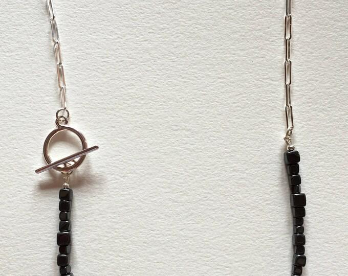 Hematite necklace, Silver brass chain necklace with hematite stones