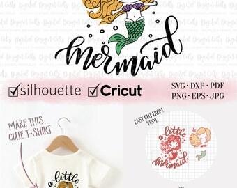 A Little Mermaid Iron-on Design, Mermaid SVG, Little Mermaid SVG, DIY Girl T-shirt, Mermaid T-shirt, Mermaid Cutting File, Mermaid Iron-on