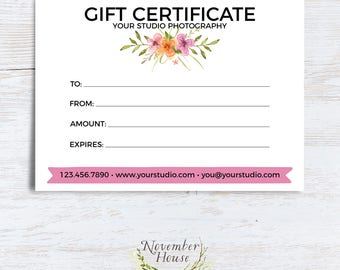 Photography Gift Certificate Template, Photoshop Template, Editable Photography Forms, Plus Wildflower Studio Stationery Template