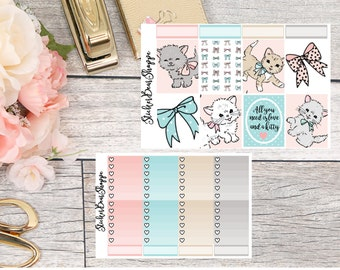 Kitty Love Weekly Kit Planner Stickers - For Erin Condren Life Planner