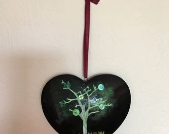 Dorphy's Handmade In Yorkshire Hand Decorated Black Ceramic Heart Wall Hanging