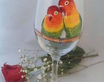 Handpainted Love Bird Wine glass