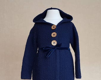 Hooded hand knitted coat, girls blue knit coat, long sweater with hood, warm hooded cardigan