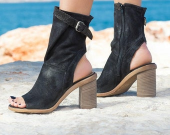 GENUINE LEATHER Sandals of heel/genuine leather open boots/genuine leather summer boos/wedge sandals