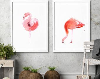Flamingo watercolor set of 2 art prints Modern wall decor Contemporary Home decor Bird illustration from Original watercolor painting