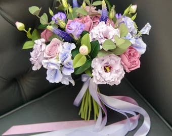 Wedding Bouquet Clay flowers bouquet Bridal bouquet Wedding flowers Clay bouquet