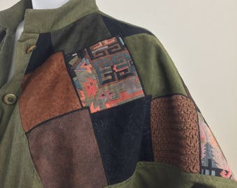 Vintage Sunny Sport by Sunny South Olive Green Jacket with High Collar and Diamond Shaped Multi-Colored Patchwork/Size 18