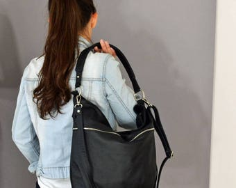 BLACK LEATHER HOBO Bag,  Crossbody Bag - Everyday Leather, Shoulder Bag,Slouchy leather hobo,Natural leather, sale -20%