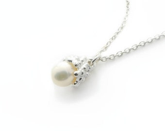 Necklace - cumulus - Pearl - sterling silver