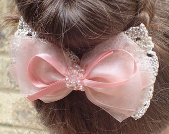 Pink hair bow-girl hair bow-girl bow-teen hair bow-girl hair accessories-hair bow for girl-kid hair bow-hair bow clip-bow for girl-beige bow