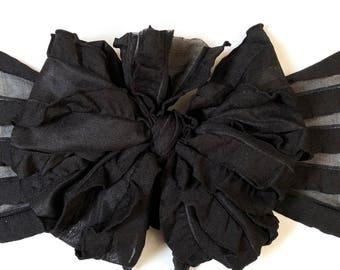 Black ruffle messy bow, messy bows, messy ruffle bow, messy ruffle bow headband, messy bow headband, hair bows, messy headbands