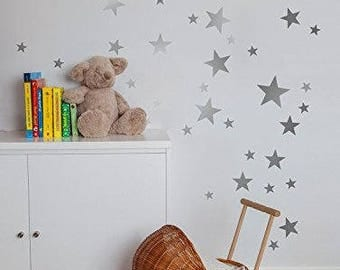 55 Silver/Gold/White Star Wall Stickers
