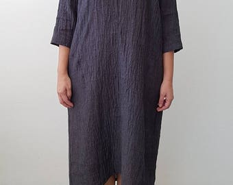 A-Line Linen Dress in Charcoal