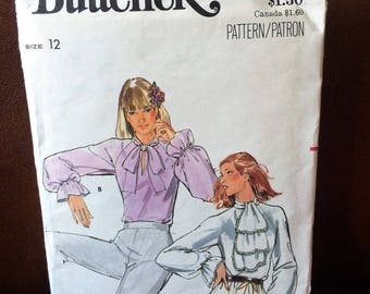 Elegant 1980's Romantic Ruffled or Bow Tie Blouse Butterick Sewing Pattern 5673