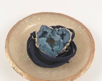 Blue x Navy Druzy Geode Suede Wrap Bracelet/Choker