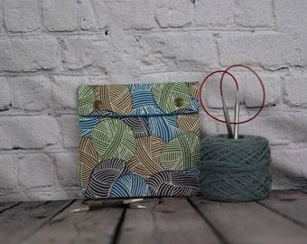 Yarn skeins blue Circular Knitting Needle Case or Notions case for Knitting Notions, Crochet notions case, Accessories case, Sewing notions