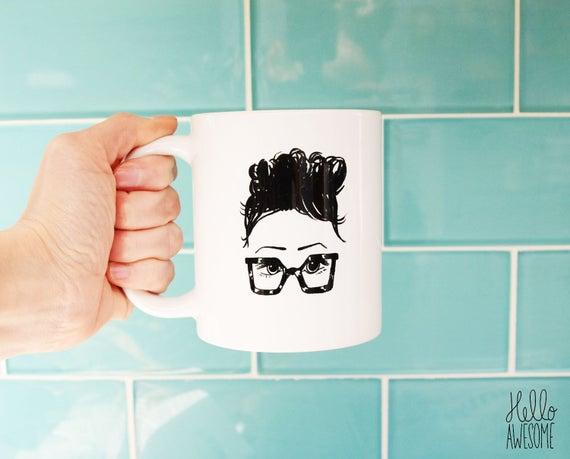 Chloe' Glasses Girl Topknot Illustration 11oz Coffee Mug