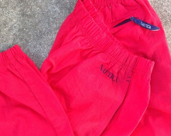 Vintage 90s NAUTICA red nyon pants / joggers