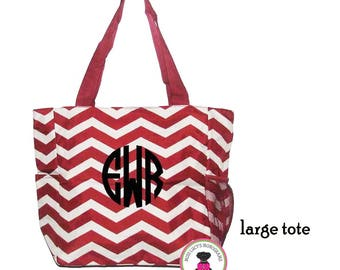 """INVENTORY SALE! Monogrammed """"The Perfect""""  Large Canvas Tote - Alabama/ Crimson Red and White Chevron - Free Ship"""