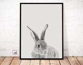 Rabbit Print, scandinavian art, rabbit poster, rabbit art, nursery decor, bunny printable, rabbit download, cute bunny art, nordic design