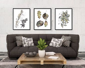 living room posters. Botanical Prints  Herb Watercolor Painting Set of 3 Living Room Plant Posters Forest poster Etsy