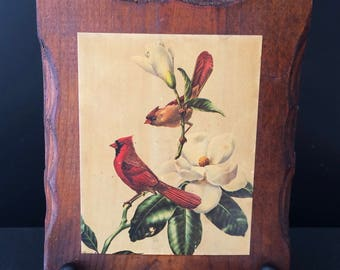 Vintage Wooden Plaque Wall Hanging w/ Pair of Cardinals Dogwood - 1970's