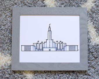 Los Angeles California Temple Drawing, LA Temple Print, Architectural Drawing, LDS, Grayscale