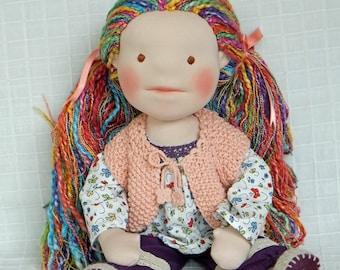 "Waldorf Doll, custom made, 18"" (45 cm), handmade cloth doll"