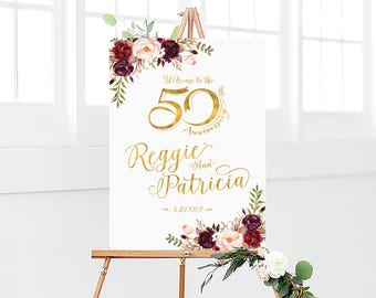 50th anniversary poster, 50th anniversary sign, Anniversary sign, Anniversary Sign Printable, 50th Anniversary decoration, 50th anniversary