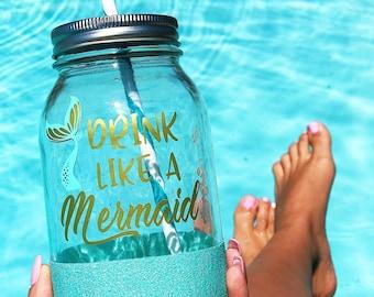 Drink Like A Mermaid//Glitter Dipped//32oz Mason Jar