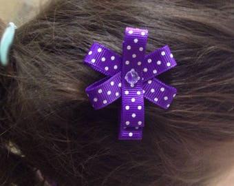 Handmade girl Ribbon purple polka dots - girl hair clip hair Barrette