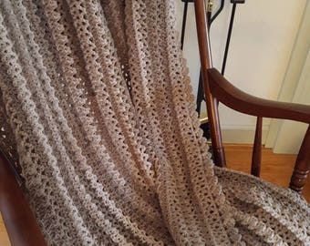 Coffee and Cream Taupe Ombre Crochet Afghan, Brown, Tan, Taupe Throw, Neutral Crochet Blanket, Tan Crochet Throw, Afghan in Brown Shades