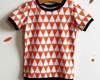 Organic t shirt for boy / mixed, printed foxes