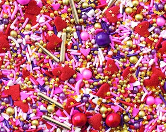 Orgasmic sprinkles, Valentine's Day Sprinkles, Gold, Pink & Red sprinkles, Sprinkle Blends, Edible Sprinkles, Fancy Sprinkles