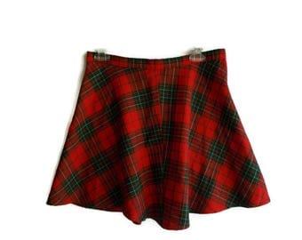 Vintage Tartan Skirt, Tartan mini skirt, Tartan skater skirt, Red checked skirt, Christmas skirt, Grunge skirt, Red and green skirt, Size M