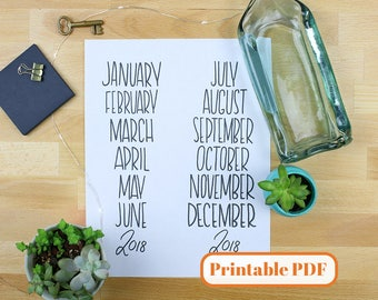 Bullet Journal Printable PDF - Hand Lettered 12 Month Block Headers for Planner or Bullet Journal Printable Stickers Black Ink Full Year